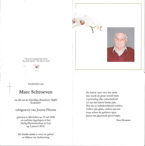 Overlijden Marc Schroeven